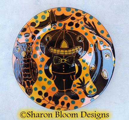 Halloween Ceramic Dinner Plate Pumpkin Man Owl by sharonbloom $60.00 & Halloween Ceramic Dinner Plate Pumpkin Man Owl by sharonbloom ...