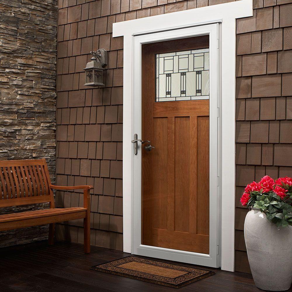 Andersen 36 In X 80 In 3000 Series White Left Hand Fullview Easy Install Aluminum Storm Door With Nickel Hardware In 2020 Aluminum Storm Doors Craftsman Front Doors Andersen Storm Doors