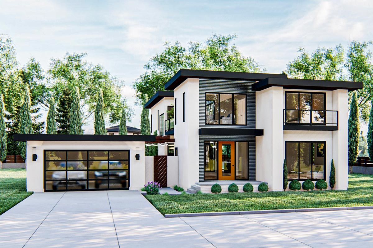 The exterior of this gorgeous modern-style 2-story home plan blends white stucco with metal and wood accents to give this home excellent curb appeal.Just inside the entry is a living room with a built-in entertainment center that accesses the front of the home through a large sliding glass door. The home's large kitchen includes an island with a snack bar and a walk-in pantry. An amazing courtyard can be accessed from the kitchen through sliding glass doors.The home's great room is warmed by