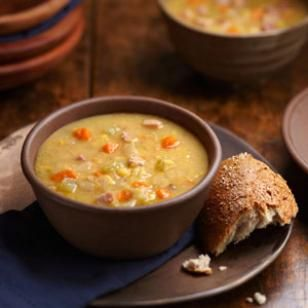 This yellow split pea soup has fresh ginger to give it a bright flavor.