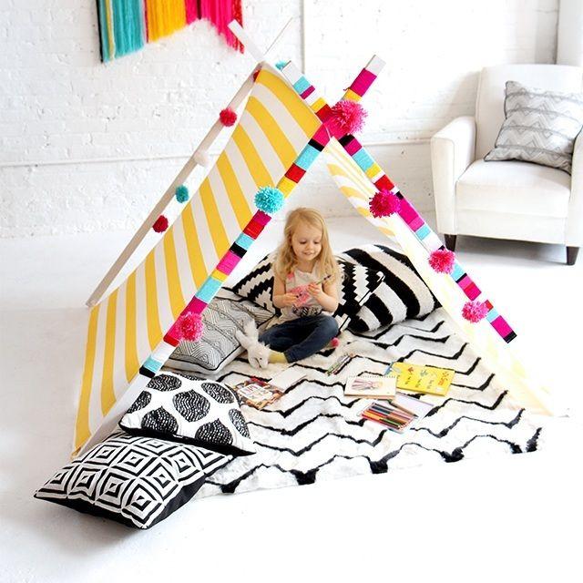 طريقة عمل خيمة اطفال بالصور والخطوات Diy Tent Yarn Diy I Spy Diy