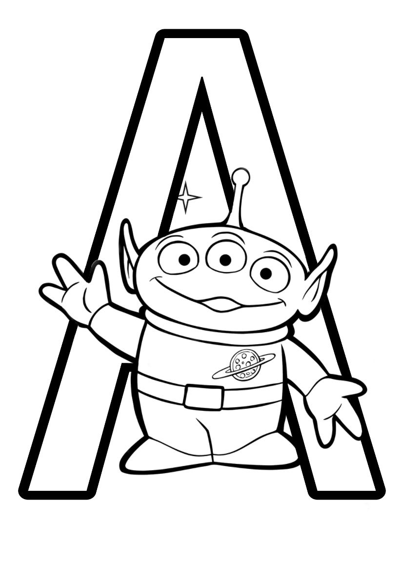 DISNEY PIXAR ALPHABET COLOURING PAGES  Toy story coloring pages
