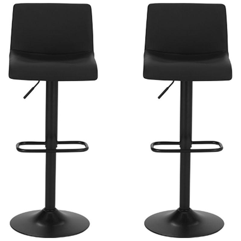 Set Of 2 Sean Adjustable Bar Stools Black Adjustable Bar Stools