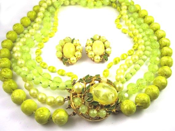 Vintage 1950's Selini Yellow Necklace and Earring Set REMARKABLE
