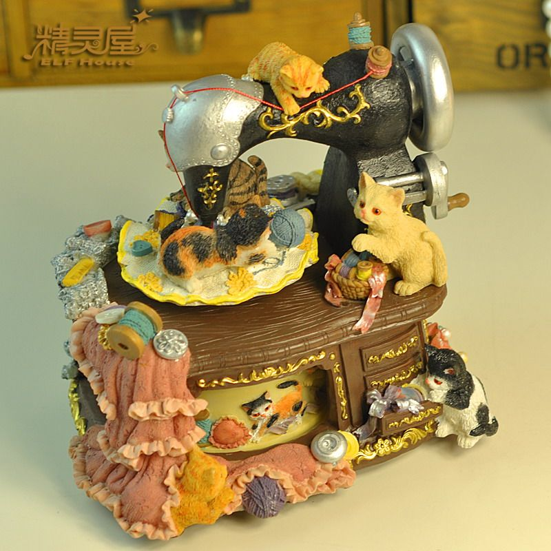 Sewing Music Boxes Birthday Gift Vintage Cat Sewing
