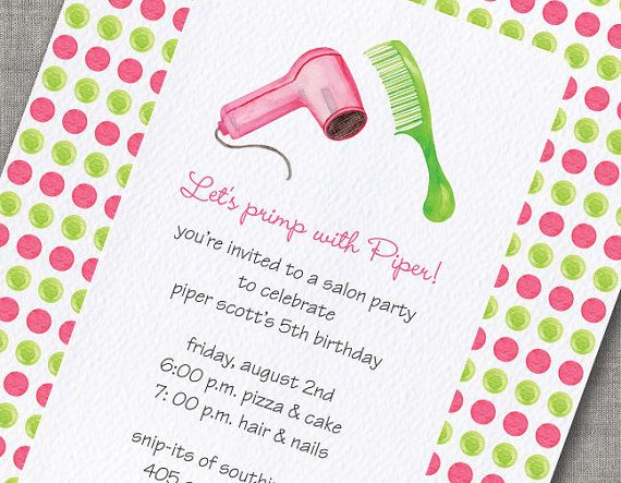 Madetoorder Spa Hair Salon Girls Birthday by frecklepaper on Etsy