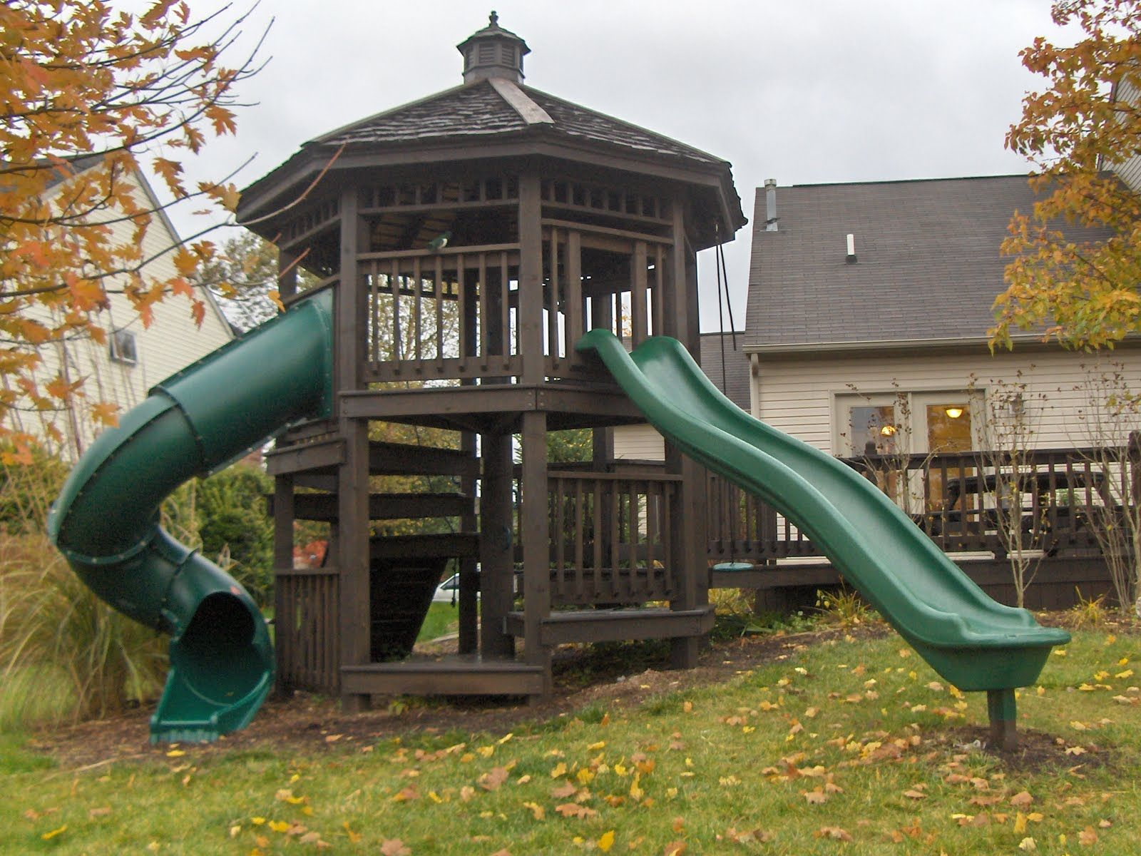 awesome gazebo style playhouse with slides