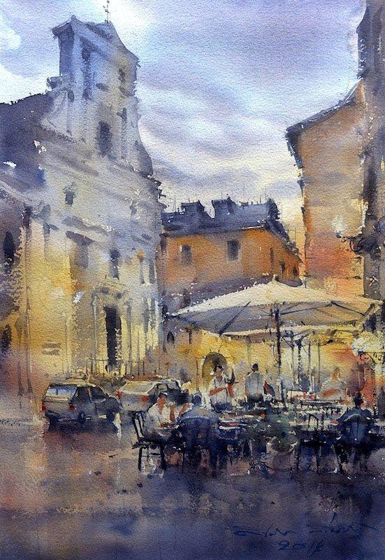 Direk Kingnok Watercolor Artist Trastevere Roma Italy