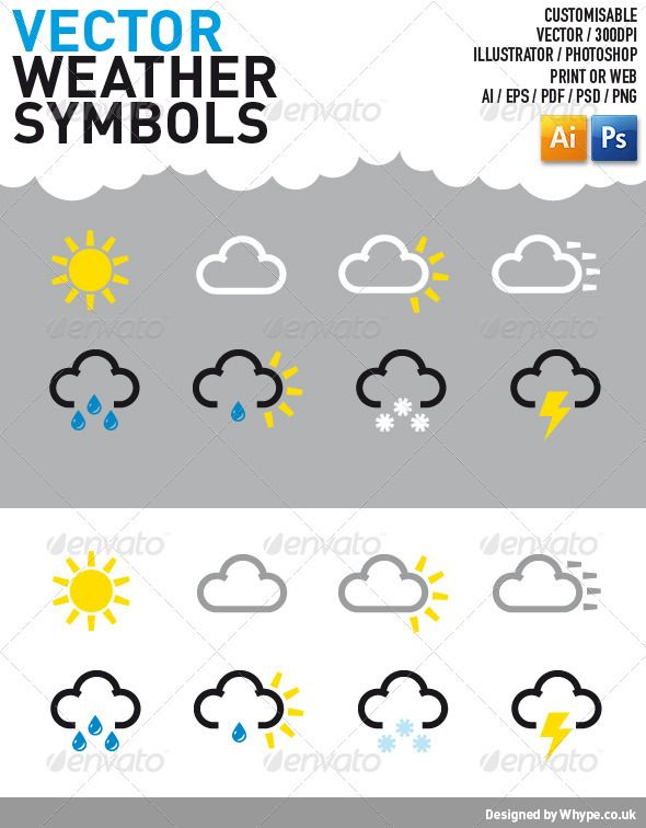 Weather Symbol Icons — PSD cloud scaleable