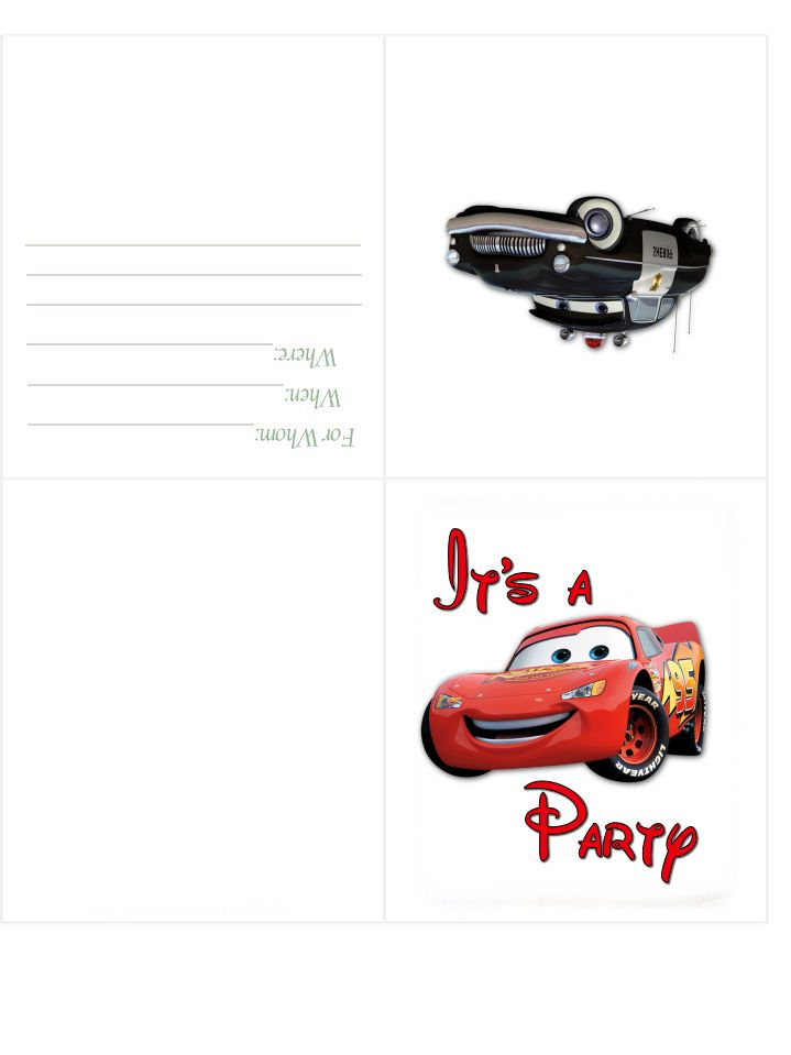 Free Printable Disney Cars Birthday Invitation Party Disney