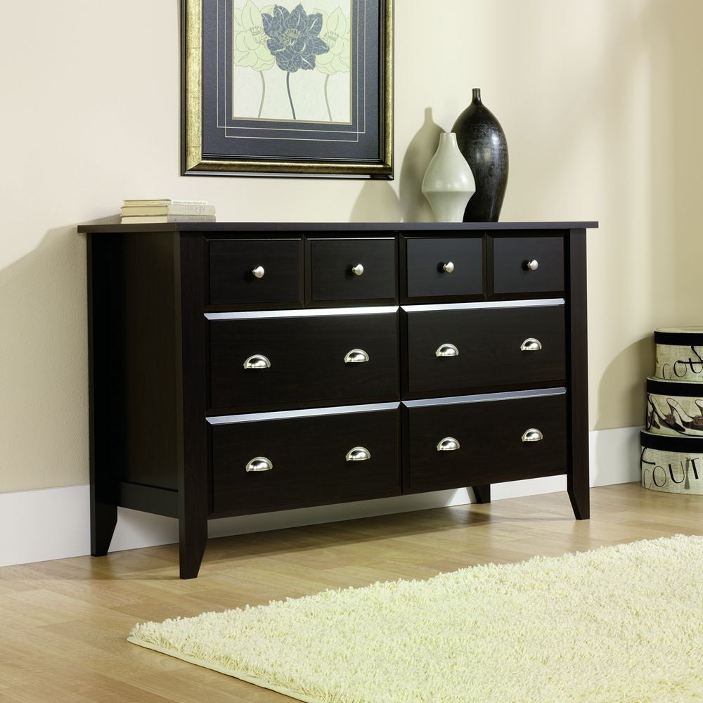 Sauder Shoal Creek Dresser, Jamocha Wood Finish Six Drawers With Easy Glide  Metal Runners And Safety Stops Feature Patented T Lock Assembly System    Four ...