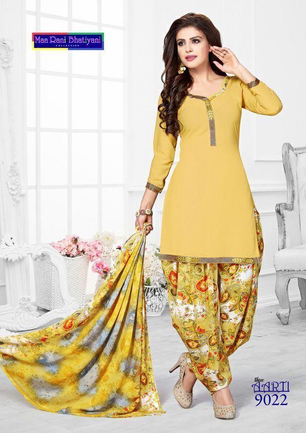 Unstitched Crepe Salwar Kameez Synthetic Bollywood Punjabi Indian Pakistani