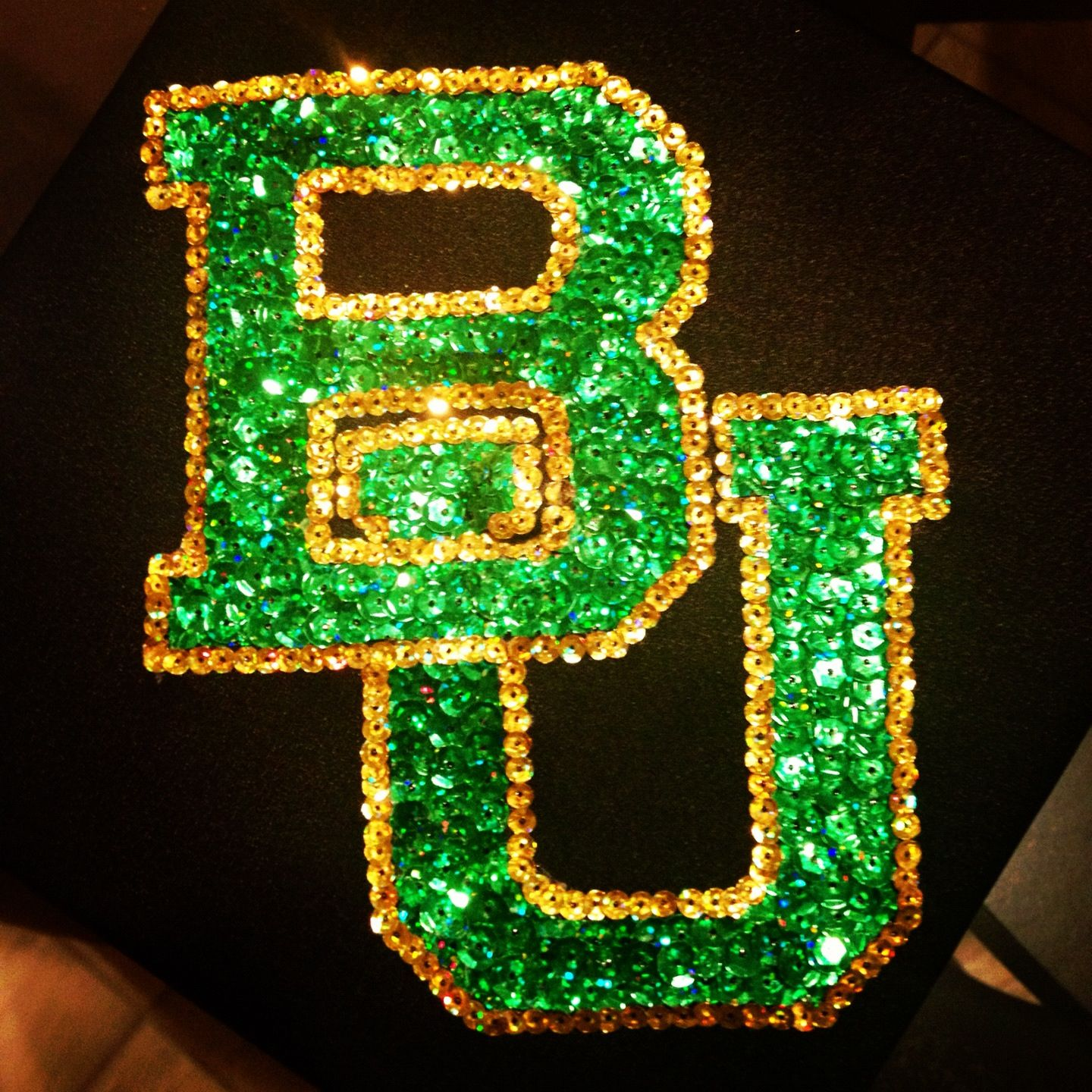 #Baylor graduation cap! made it by hot gluing on individual sequins one at a time.