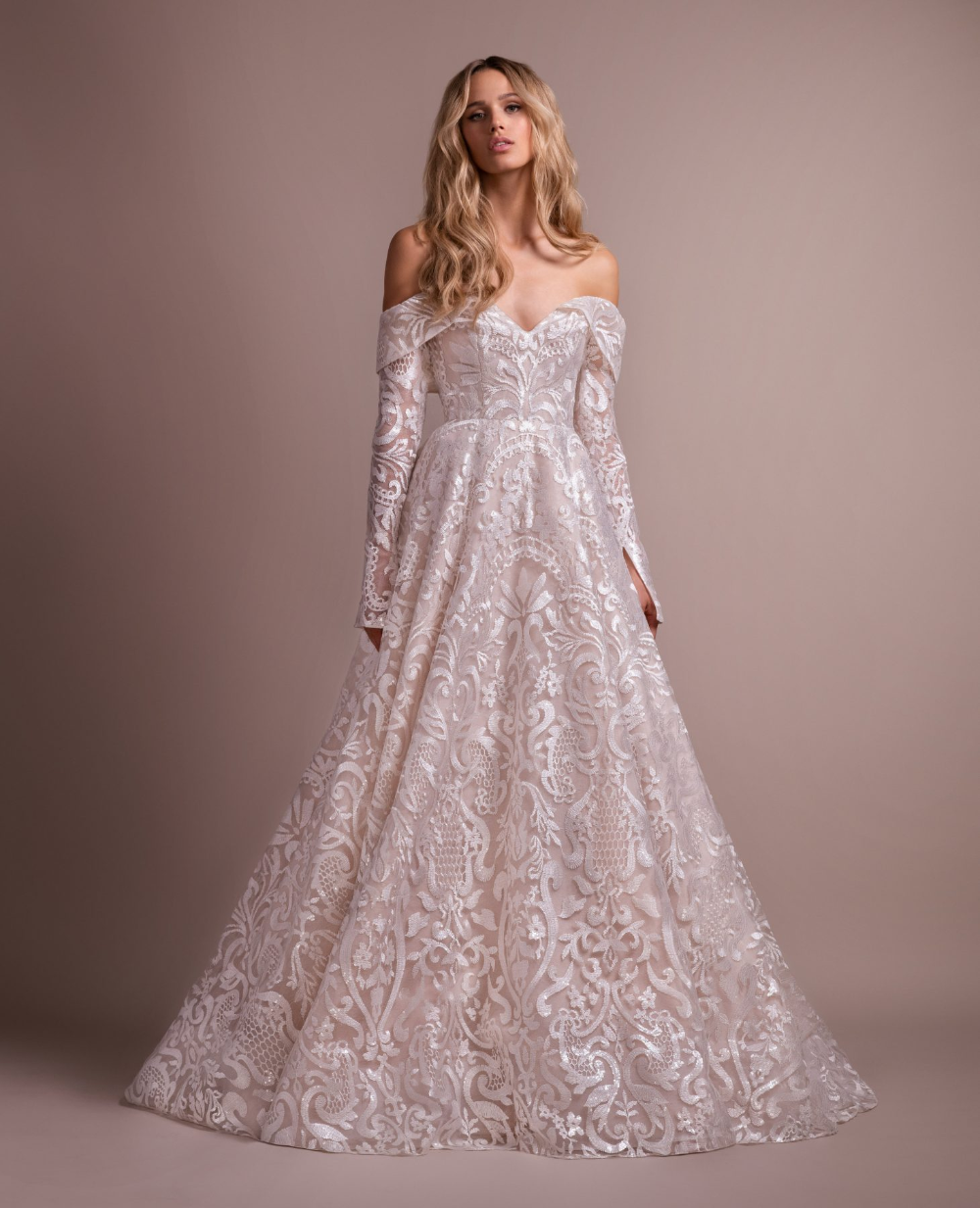 Lace Wedding Dress With Removable Off The Shoulder Long
