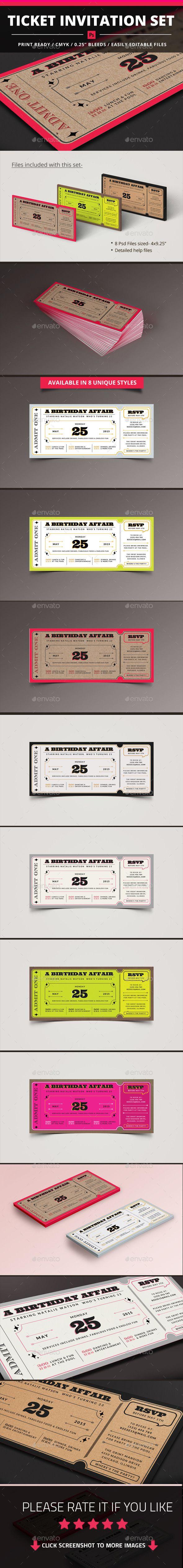 Template Ticket Invitation Set Ticket invitation