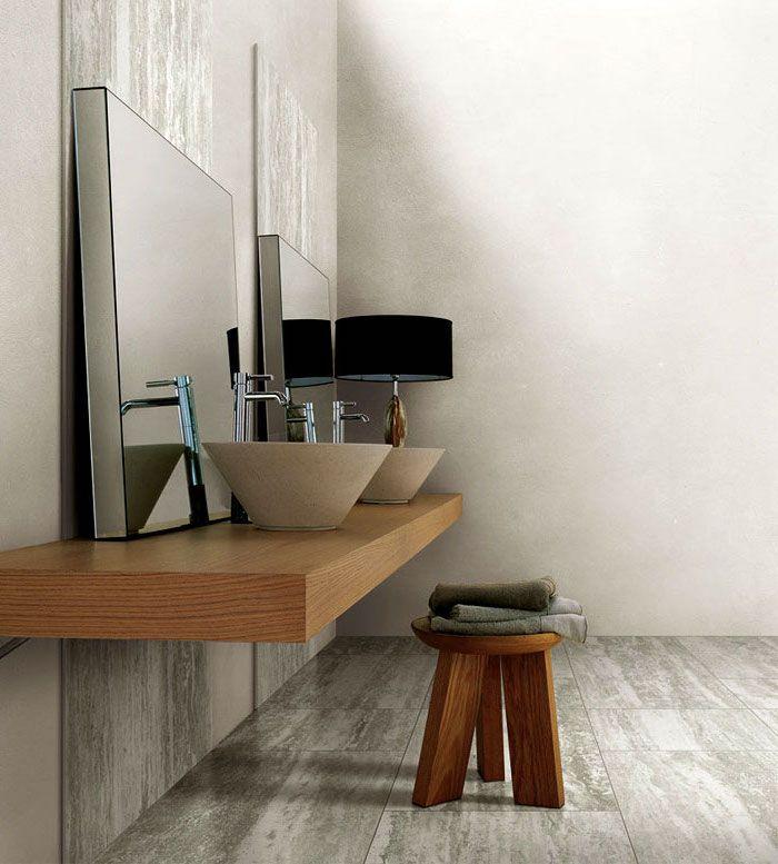bad einrichten, große eckige spiegel, runde waschbecken aus - naturstein bad