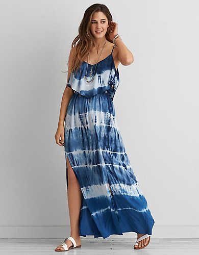 bb1fc25b96 AEO Tie Dye Ruffle Maxi Dress