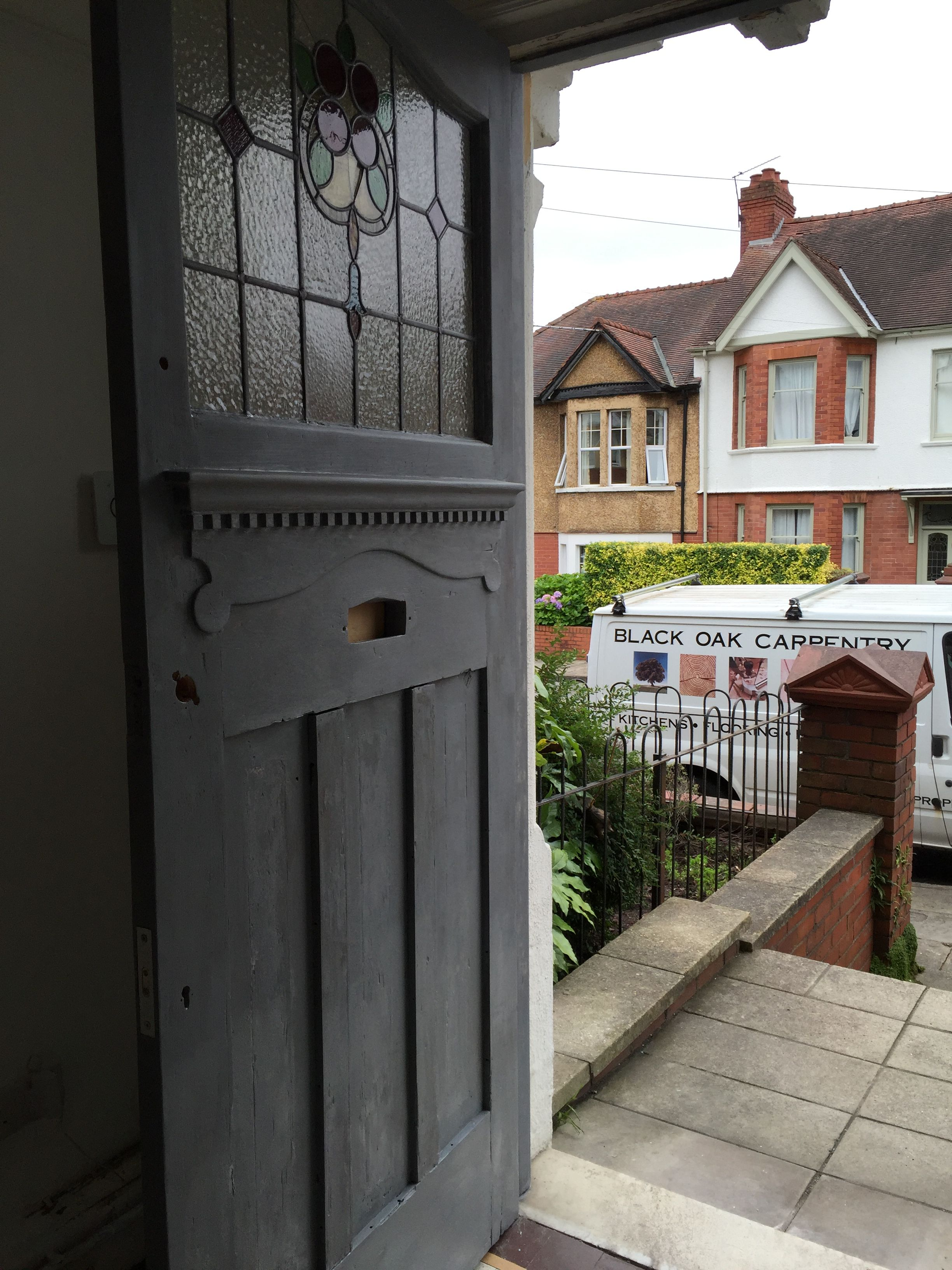 Refurbishment · Front Door (during) Farrow And Ball Railings, Chrome Letter  Box, Stained Glass