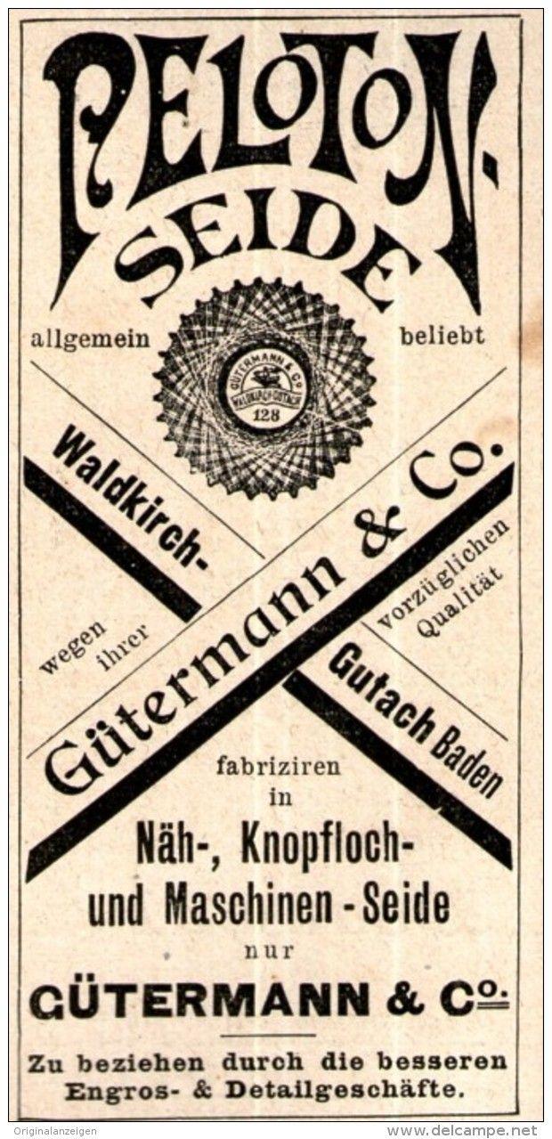 Original-Werbung/ Anzeige 1897 -  PELOTON SEIDE / GÜTERMANN & CO.  -ca. 45 x 100 mm