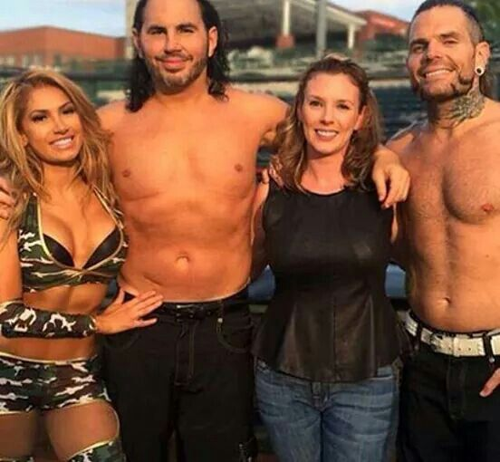 Jeff Hardy and Matt Hardy with their wives Beth  and Reby respectively