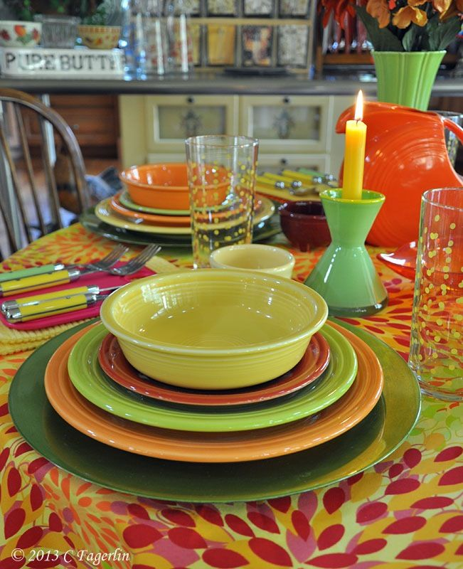 Fiestaware table setting - these are all my colors. | Kitchen ...