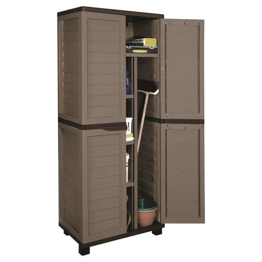 Cabinet With Vertical Partition And 4 Shelves 70 9 Quot Starplast Target Outdoor Storage Cabinet Shed Storage Resin Storage