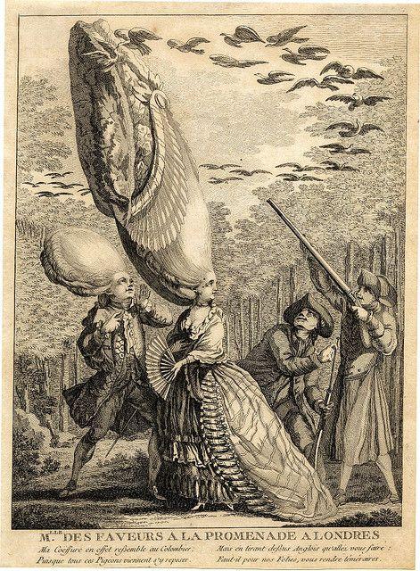 """""""Mlle des Faveurs a la Promenade a Londres"""" - Anonymous etching, 1775."""
