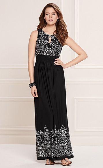 02098b753f6 Romance Realized  Soma Keyhole Maxi Dress in Black Embroidery Print   LoveSoma