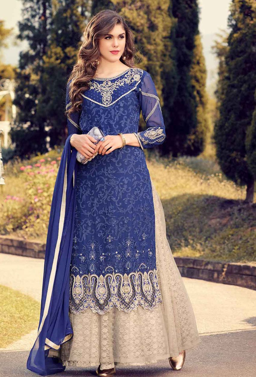 158114e538f  Blue  Georgette sharara Shalwar Kameez  punjabishararasuit  salwarkameez   sharara  suits  pakistani punjabi weddingsuit  nikvik  sale   dress   designer ...