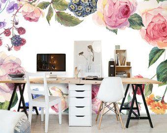 Vintage Rose Wallpaper Poetry Flowers Wall Decal Art Bedroom Living