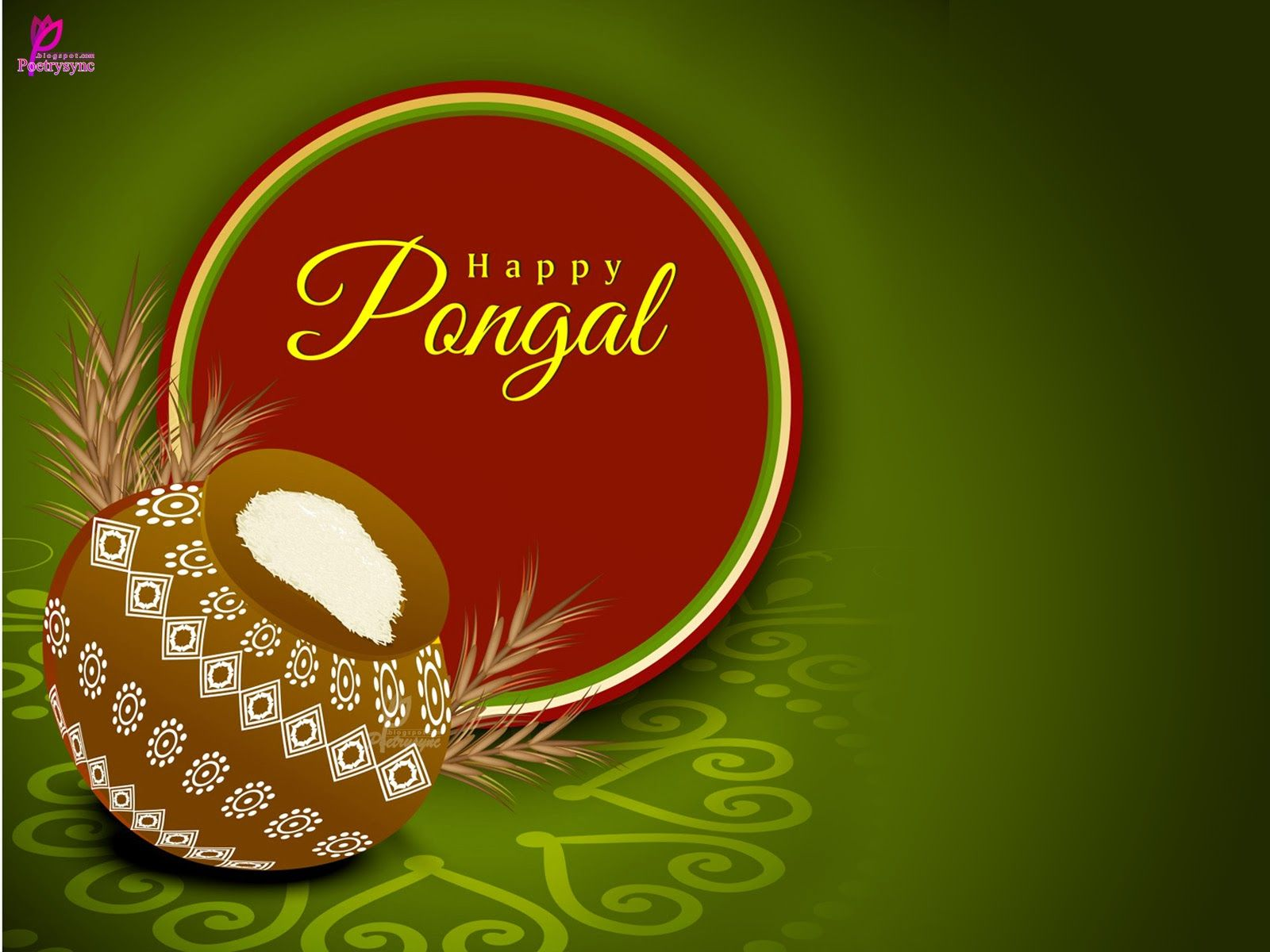 Happy Pongal Festival Wishes Card Wallpaper In South India Pongal