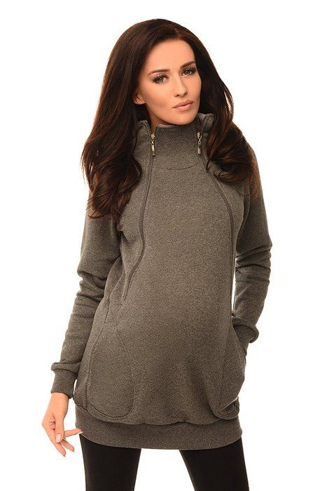 8e9734ce2cc Purpless Maternity 2in1 Pregnancy and Discreet Nursing Hoodie with Zips  9052 (4, Dark Gray Melange)