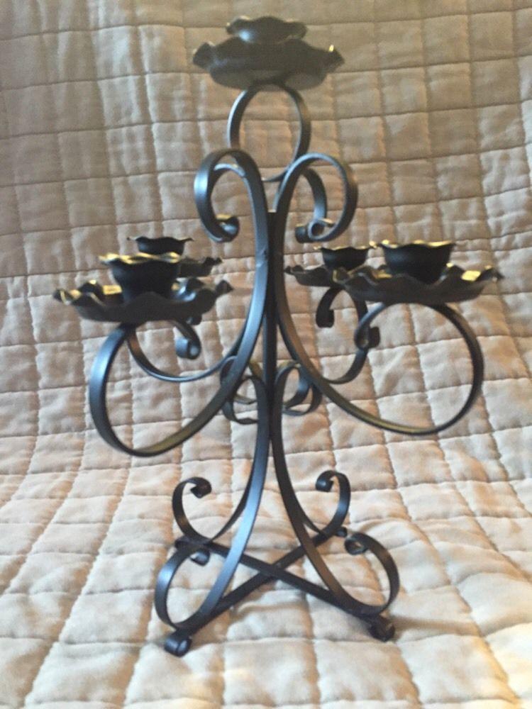 Vintage Black Wrought Iron 5 Candle Holder Candelabra ...