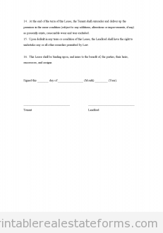 Sample Printable Commercial Lease Form  Printable Real Estate