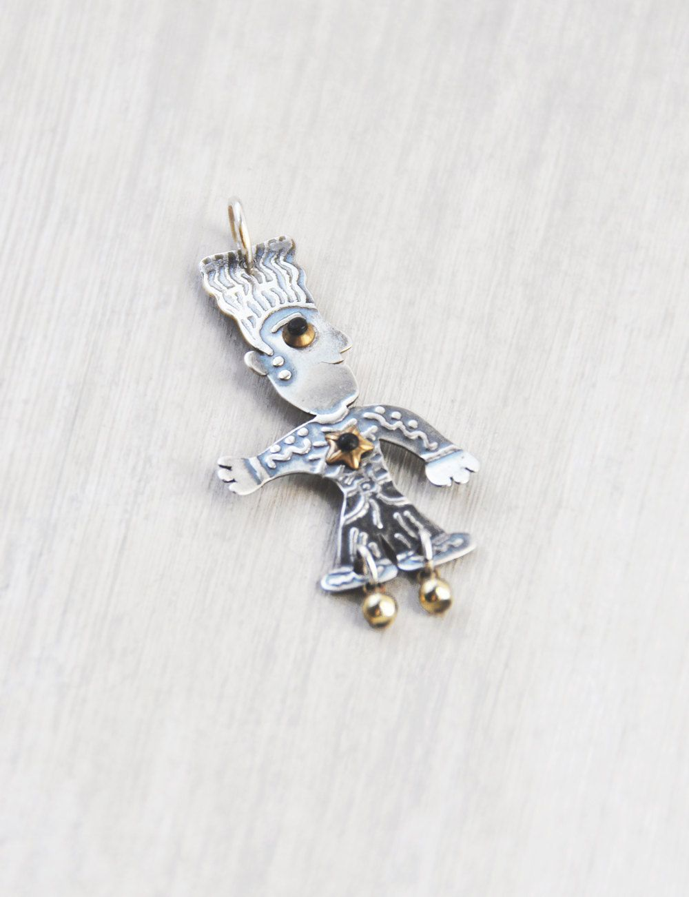 Artisan Sterling Silver Man Pendant - whimsical figure charm with brass accents - by Jane Carpenter Millodot Jewelry by CuriosityCabinet on Etsy