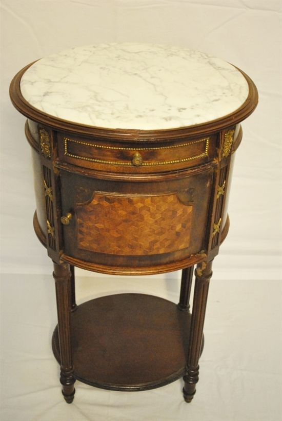 """Antique Marble Top Humidor, Side Table, Oval, 31""""H"""