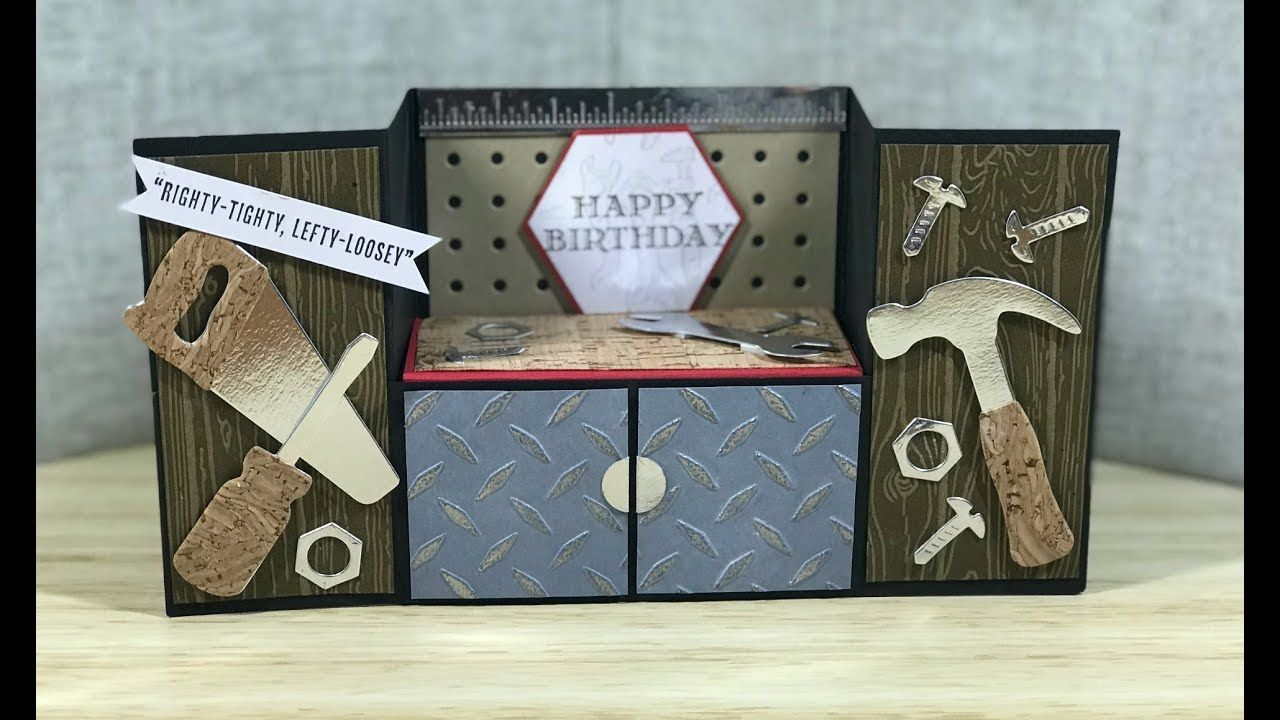 Cardmaking Video Tutorial Tool Bench Fold Card Delightful Card For Males Lots Of Fun Details Fancy Fold Cards Fun Fold Cards Folded Cards