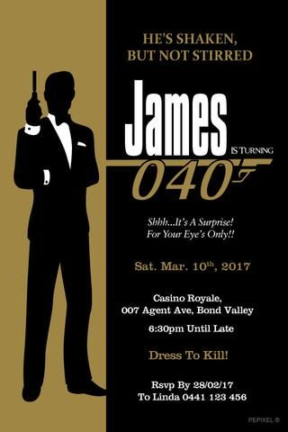 40th Birthday Invitation 007 AGENT James Bond