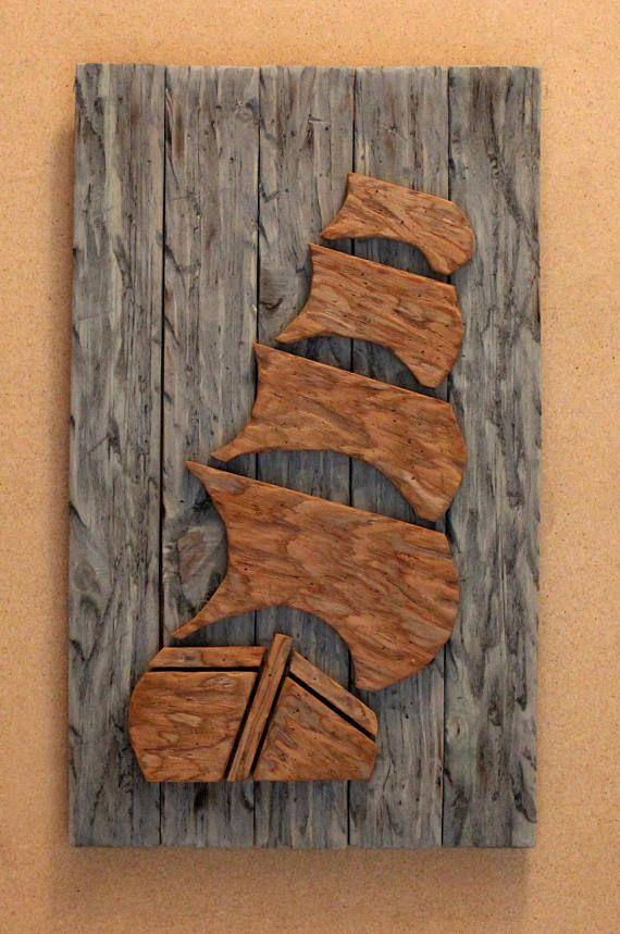 Wood Pirate Ship-Pirate Ship-Distressed Wood Pirate Ship-Nautical Decor-Nautical Art-Rustic Decor-Distressed Wood SKU# LSDPS #reclaimedwoodwallart