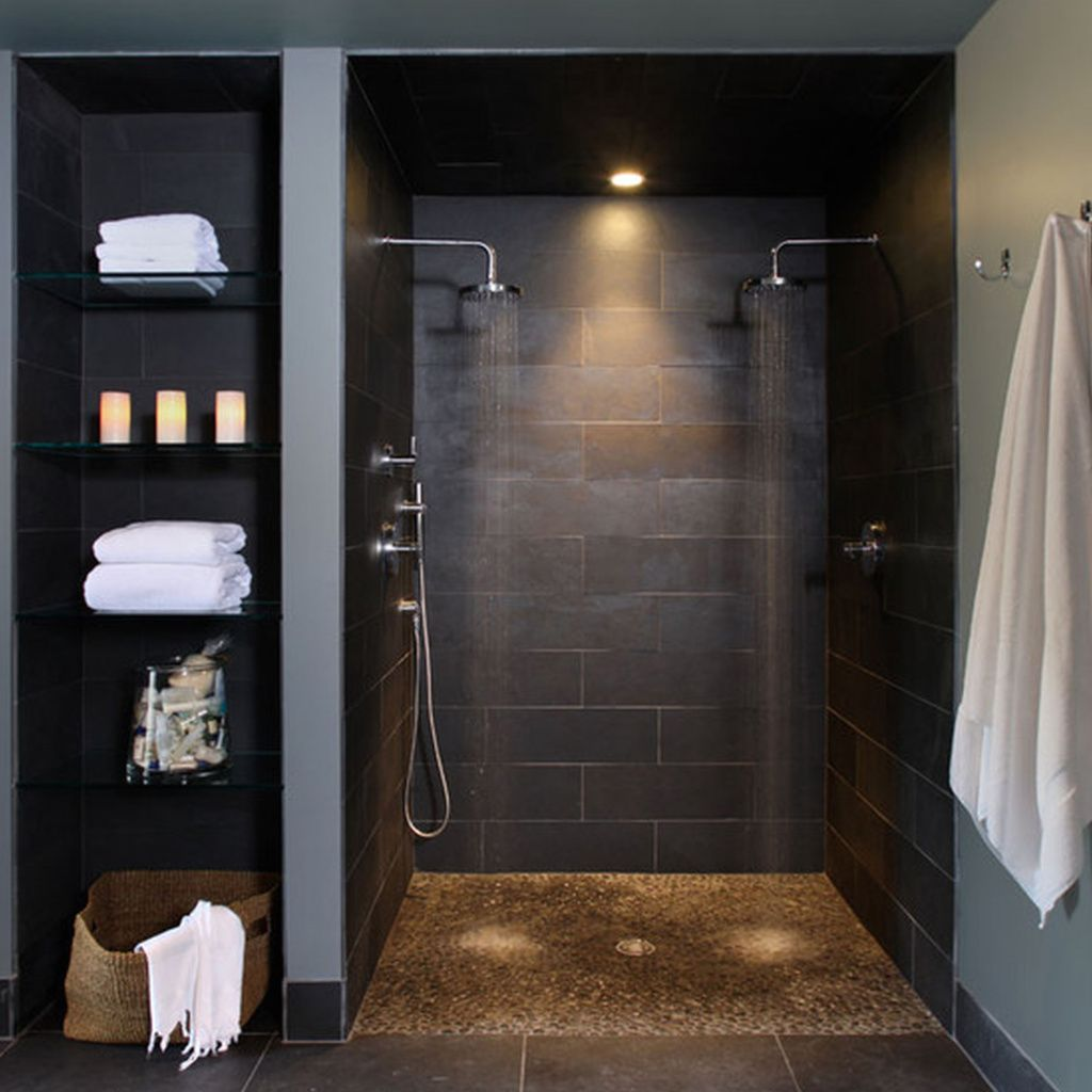 Scandinavian Bathroom Designs With Black Slate Floor And