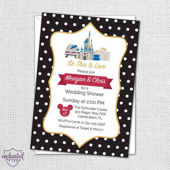 Walt Disney World Party Invitation Perfect For A Bride Or Couple Planning Wedding At WDW By Enchanted Type On Etsy