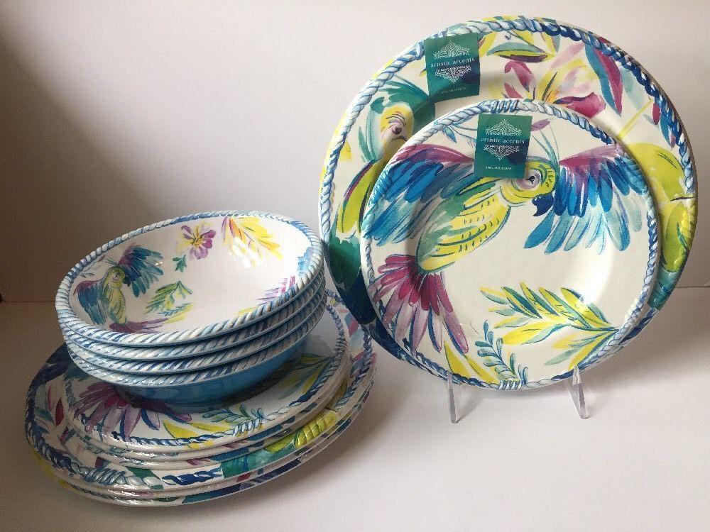 Artistic Accents 12 Pc Melamine Dinnerware Set Dinner Tropical Parrot  Durable