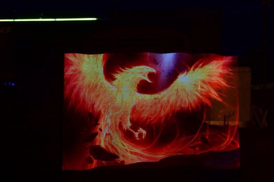 Light painting a phoenix using the pixelstick in front of the cuddle light painting a phoenix using the pixelstick in front of the cuddle bus at the phoenix bar las vegas nv mozeypictures Images