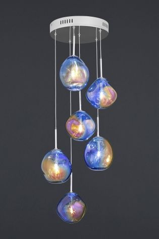 Fluid 6 light iridescent cluster glass pendant wislist buy fluid 6 light iridescent cluster glass pendant from the next uk online shop audiocablefo light catalogue