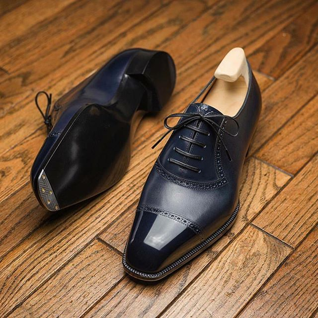 More commonly cut in suede and often taking the form of loafers, blue shoes  seem