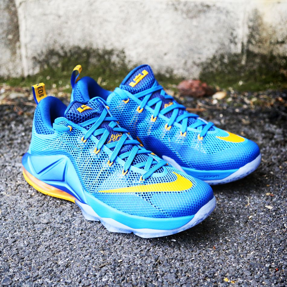 Cool blue and yellow Nike LeBron 12 Low. $175 - Would you wear them?