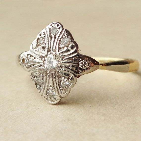 Very very beautiful and classic... Art Deco Diamond Ring Platinum and 18k Gold Diamond by luxedeluxe, $510.00