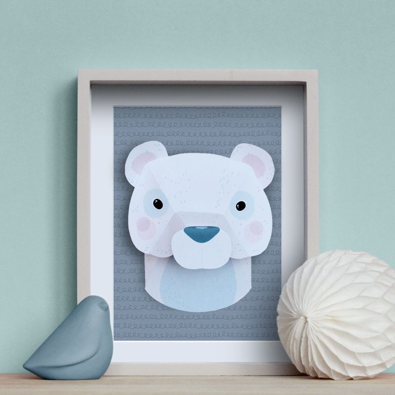 troph e animaux en papier ours blanc diy trophee trophy bear paper. Black Bedroom Furniture Sets. Home Design Ideas