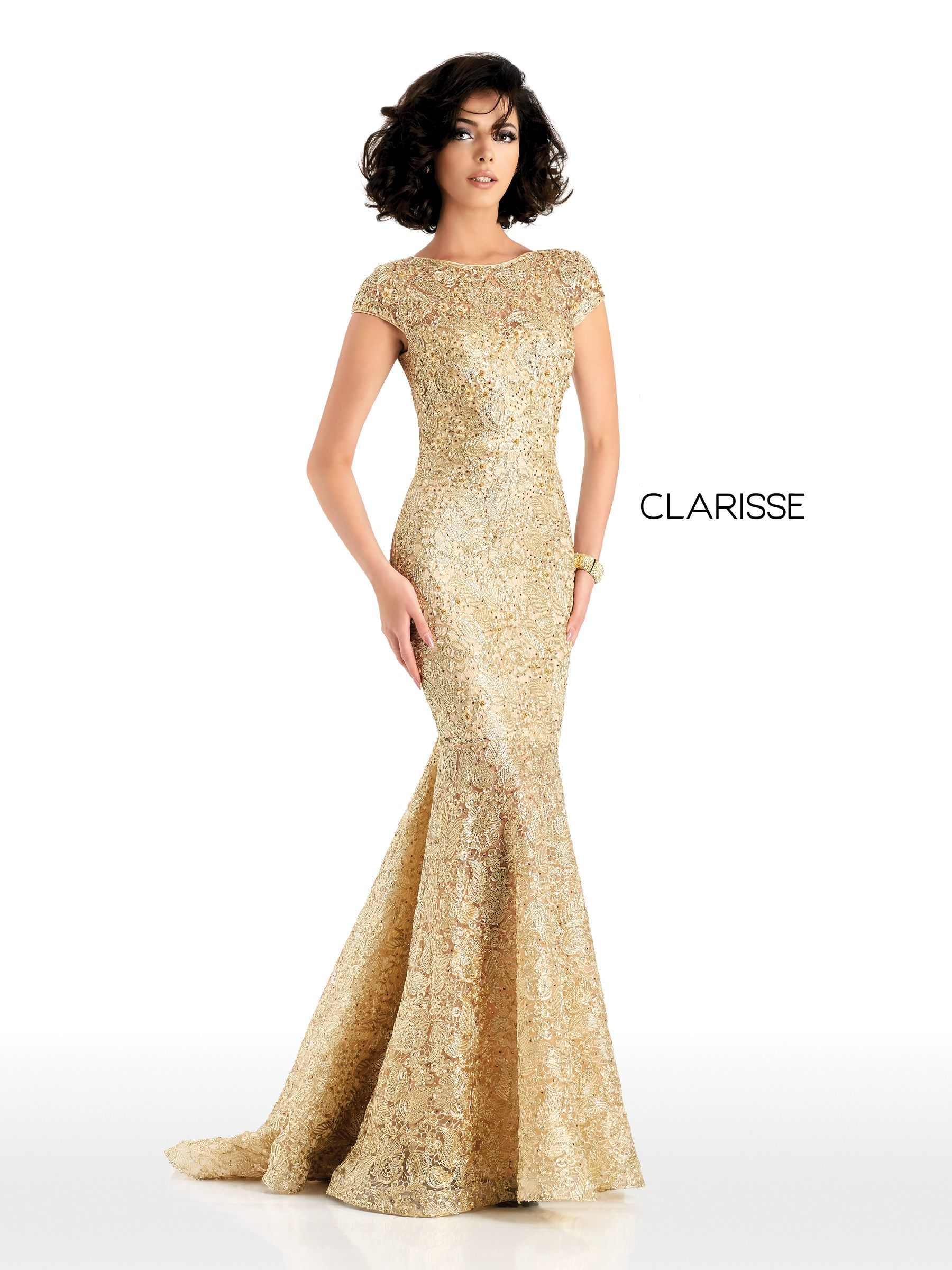 d7a0262f131 4852 - Gold lace mermaid dress with short sleeves and an open back Fitted Prom  Dresses