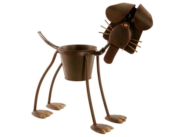 Metal Dog Planter Ideal For Indoor Covered Outside Areas Garden Pinterest Planters And